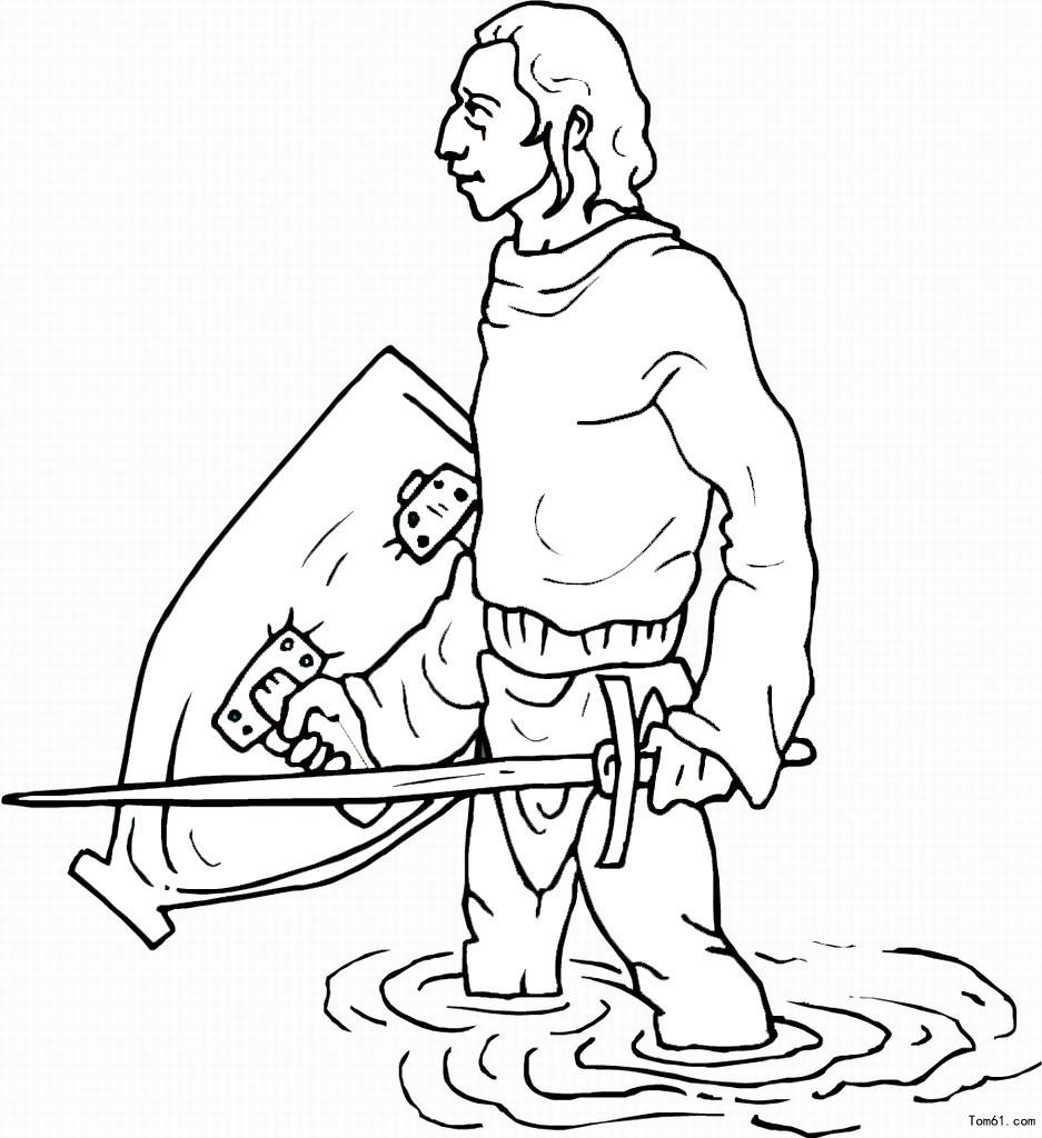 人物简笔画拿着剑的人简笔画 简笔画 故事中国