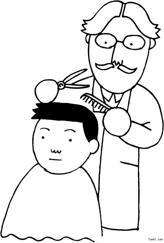 理发师-简笔画图片-中国儿童资源网